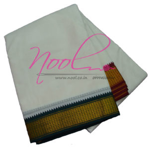 NoolIndian Cream Cotton Dhoti 10x6 Mulam 2 inches New Zari Mayilkan Border DHO.6