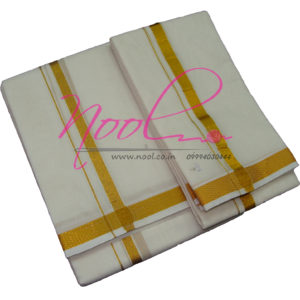 NoolIndian Cream Handloom Cotton Zari Dhoti 8Mulam Traditional Angavastram DHO.3