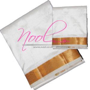 Online-8-Mulam-Pure-Silk-Dhoti-Cream-70K-Gold-Zari-Border-Angavastram-SKS.DHO.26