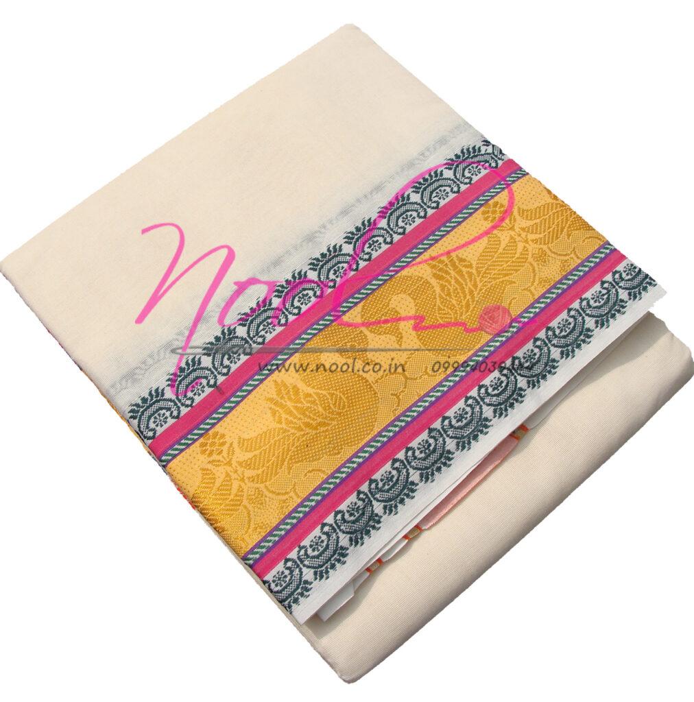 Temple-Dhoti-Cream-Cotton-9x5-Mulam-Panchakacham-Big-Zari-Border-DHO.58